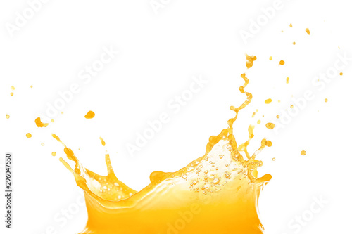 Foto auf Gartenposter Saft Splash of fresh orange juice on white background