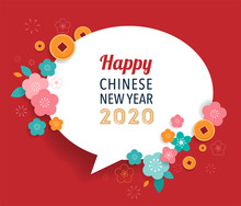 Happy Chinese New Year Design With Speech Bubble. 2020 Rat Zodiac. Vector Illustration And Banner Concept
