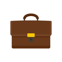 Leather Suitcase Icon. Flat Illustration Of Leather Suitcase Vector Icon For Web Design