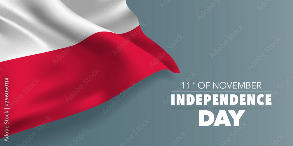 Fototapety, obrazy: Poland independence day greeting card, banner with template text vector illustration