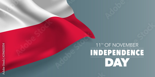 Poland independence day greeting card, banner with template text vector illustration