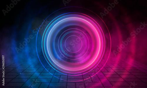 Montage in der Fensternische Spirale Neon circle on the background of a dark old brick wall, street, wet asphalt. Blue and pink neon, smoke, smog. Night view of the street with neon. Abstract neon dark background.