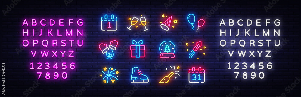 Fototapeta Big collectin New Year neon signs. Happy New Year Neon Icons Vector. Merry Christmas icons lights design template, modern trend design, night light signboard. Vector. Editing text neon sign