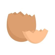 Crack Eggshell Icon. Flat Illu...