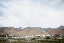 LEH LADAKH, INDIA - JUN19, 2018: Tourist Staying The Camp Site  In Pagong Lake, Leh Ladakh, India.