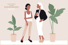 Vector Young Women Dressed In Trendy Clothes Standing In The Room.