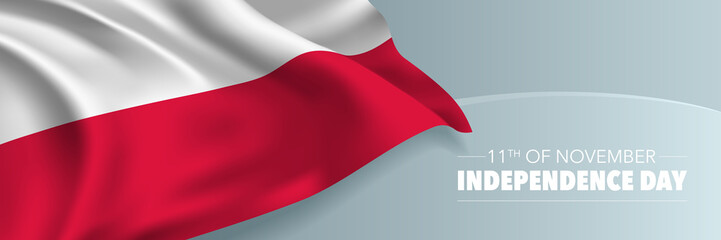 Poland independence day vector banner, greeting card.