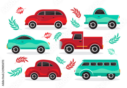 Garden Poster Cartoon cars Set of green and red cartoon car in flat vector. Transport vehicle. Toy car in children s style. Fun design for sticker, logo, label. Isolated object on white background. The view from
