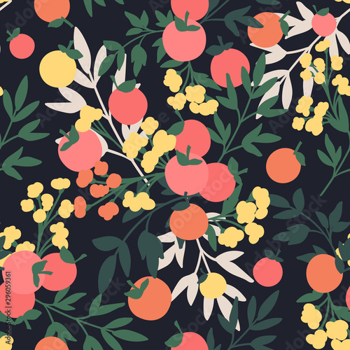 Vector Floral seamless pattern. Flowers and leaves. Wallpaper Mural