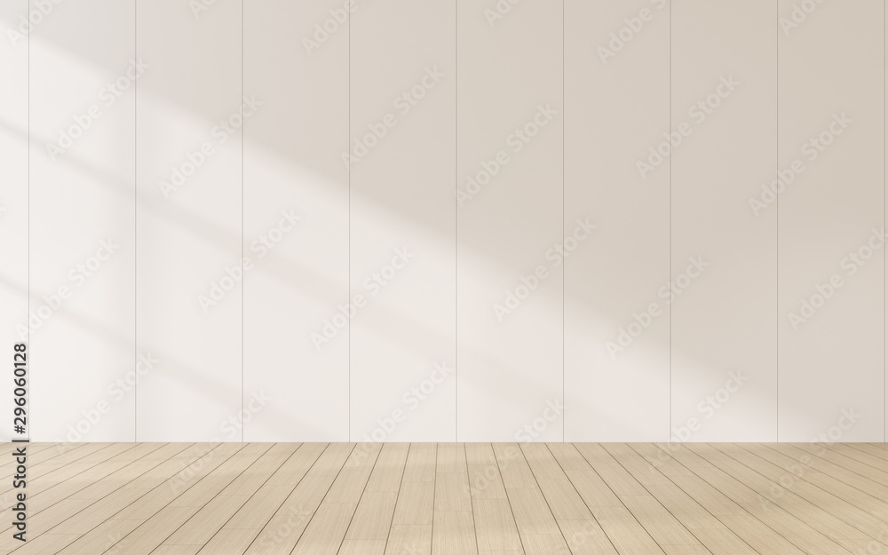 3D stimulate of empty room and wood plank floor with sun light cast shadow on the wall,Perspective of minimal interior design.