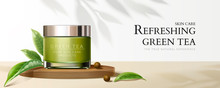 Natural Green Tea Cream Jar Ba...