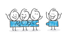 Stickman Blue: Teamwork, Puzzle, Family. (Nr. 142)