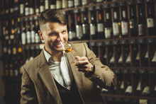 Smiling Sommelier In The Wine ...