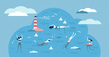 Swimming Vector Illustration. Flat Tiny Water Sport Activity Person Concept