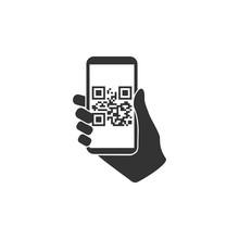Smartphone, QR Code Icon. Vector Illustration, Flat Design.