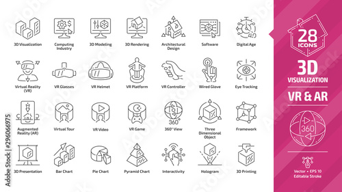 Fotomural 3D visualization outline icon set with virtual & augmented reality (VR & AR) visual technology editable stroke line symbols: architectural design, software, digital age, presentation and chart graph