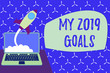 canvas print picture - Conceptual hand writing showing My 2019 Goals. Concept meaning setting up demonstratingal goals or plans for the current year Successful rocket launching laptop background Startup grow