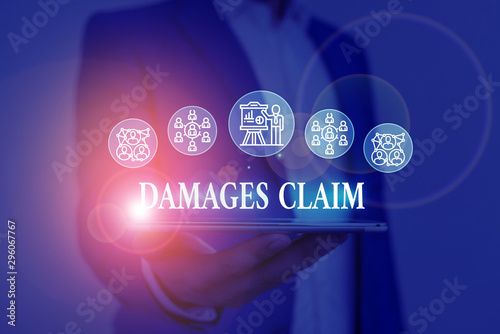 Text sign showing Damages Claim Wallpaper Mural