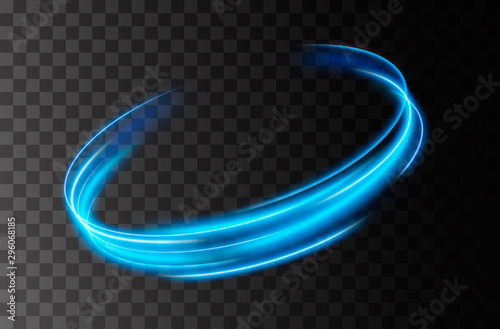 Obraz Vector neon light line circle in motion. Glowing blue ring trace. Glitter magic sparkle swirl trail effect  - fototapety do salonu