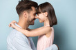 canvas print picture - Loving dad and preschool daughter hug touching noses