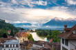 Leinwanddruck Bild - View from Thun Castle with the river Aare and Lake Thun