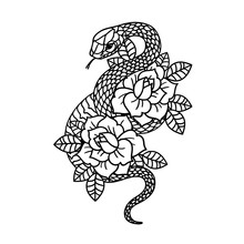 Tattoo With Rose And Snake Wit...
