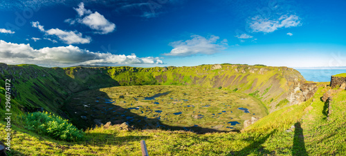 Wide Rano kau volcanic crater panorama in Easter Island