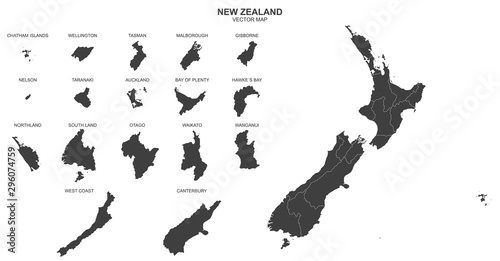 political map of New Zealand isolated on white background Wallpaper Mural