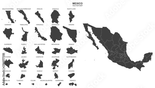 Fototapeta political map of Mexico isolated on white background obraz