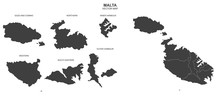 Political Map Of Malta Isolate...