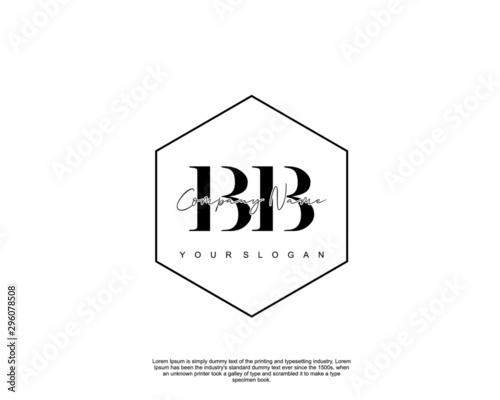 Initial letter BB beauty handwriting logo vector Wallpaper Mural