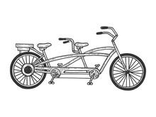 Tandem Bicycle Sketch Engravin...