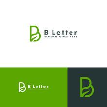 Letter B Logo, Leaf Icon Desig...
