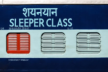Bikaner, India. View Of Sleeper Coach On The Train Station.