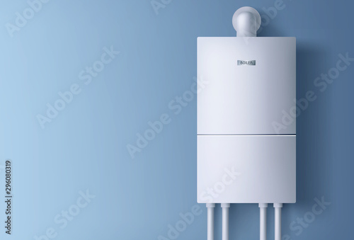 Fototapeta Boiler, electronic water heater hanging on blue wall. Home plumbing electric fixture with pipes for heating cold aqua. Energy and cash savings smart system equipment. Realistic 3d vector illustration obraz