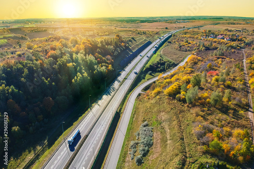 Aerial view of the highway in Poland at sunset