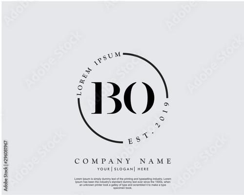 Initial letter BO beauty handwriting logo vector Canvas Print