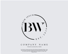 Initial Letter BW Beauty Handwriting Logo Vector