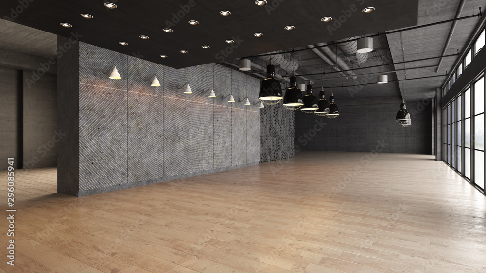 Fototapety, obrazy: Large open empty space with concrete wall illuminated by natural light from windows