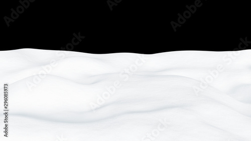 Foto auf Gartenposter Weiß Isolated snow hills landscape. Winter snowdrift background.