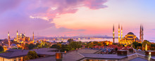 Sultan Ahmet Mosque And Hagia Sophia In The Beautiful Sunset Panorama Of Istanbul, Turkey