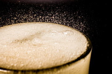 Fizz sparkling Beer bubbles Refreshing . Cold drink froth Beer liquid fresh i...