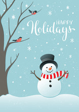 Winter Holidays Or Christmas Background With Snowman And Snowflakes.