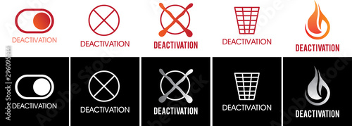 Photo Vector set of logos, sign of deactivation