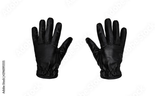 Black leather glove isolate on a white background Tablou Canvas