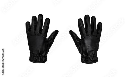 Valokuvatapetti Black leather glove isolate on a white background