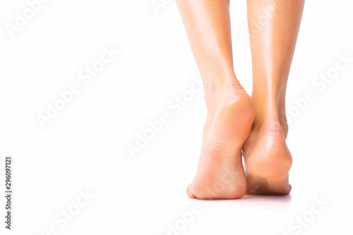 Woman with bare foot standing Fototapet