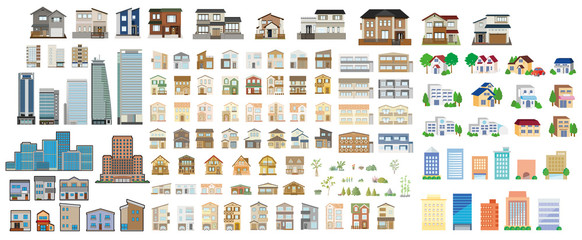 Set of isometric city buildings. Town district landscape with urban infrastructure streets and houses.