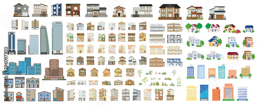 Set of isometric city buildings. Town district landscape with urban infrastructure streets and houses. - 296097903