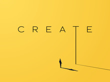 Creativity Vector Concept With Creative Typography And Design With Businessman Looking To Grow, Climb Up. Symbol Of Creative Solutions, Innovation, Inspiration, New Ideas.